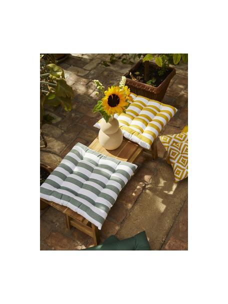 Cojín de asiento a rayas Timon, Funda: 100%algodón, Amarillo, blanco, An 40 x L 40 cm