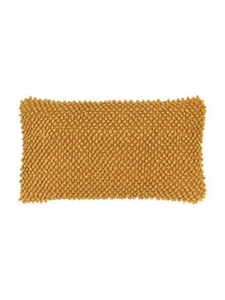 Kussenhoes Indi met gestructureerde oppervlak in mosterdgeel, 100% katoen, Geel, 30 x 50 cm