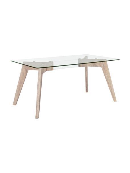 Tavolo con piano in vetro Kenya Aryan, Gambe: pannello di fibra a media, Trasparente, marrone chiaro, Larg. 160 x Prof. 90 cm