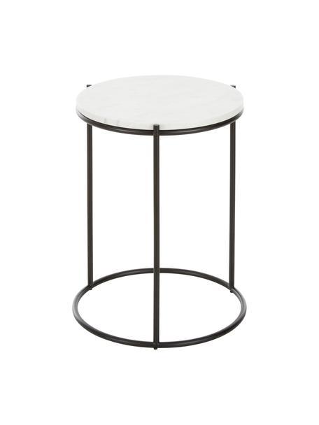 Mesa auxiliar redonda de mármol Ella, Tablero: mármol natural, Estructura: metal con pintura en polv, Blanco veteado, negro, Ø 40 x Al 50 cm