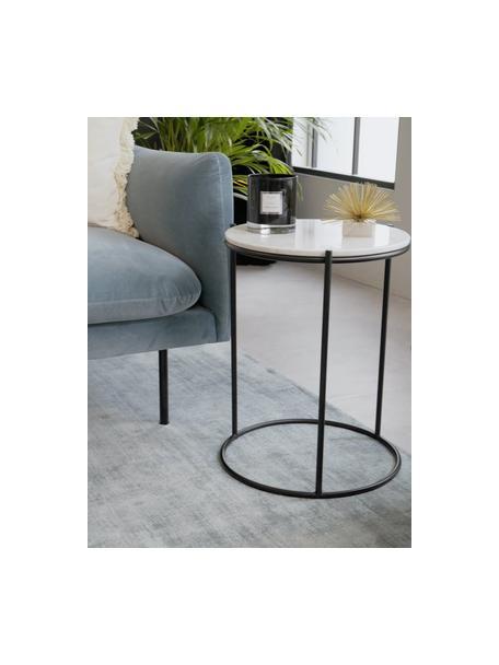 Runder Marmor-Beistelltisch Ella, Tischplatte: Marmor, Gestell: Metall, pulverbeschichtet, Weisser Marmor, Schwarz, Ø 40 x H 50 cm