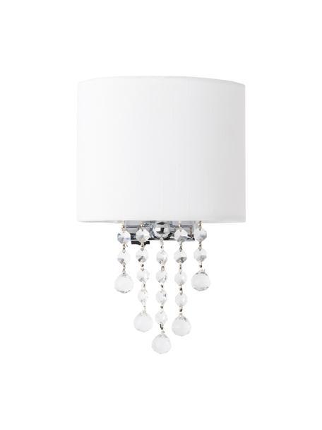 Wandlamp Nora met kristalglas, Lampenkap: textiel, Decoratie: kristalglas, Wit, 18 x 27 cm
