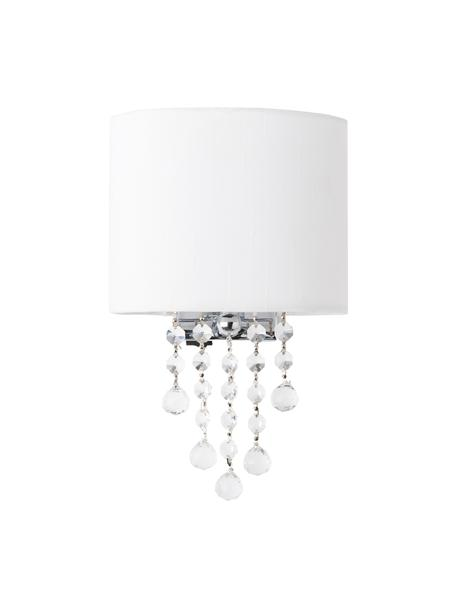 Wandleuchte Nora mit Kristallglas, Lampenschirm: Textil, Dekor: Kristallglas, Weiß, 18 x 27 cm