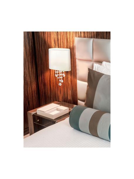 Applique con decorazione in cristallo Nora, Paralume: tessuto, Decorazione: cristallo, Bianco, Larg. 18 x Alt. 27 cm