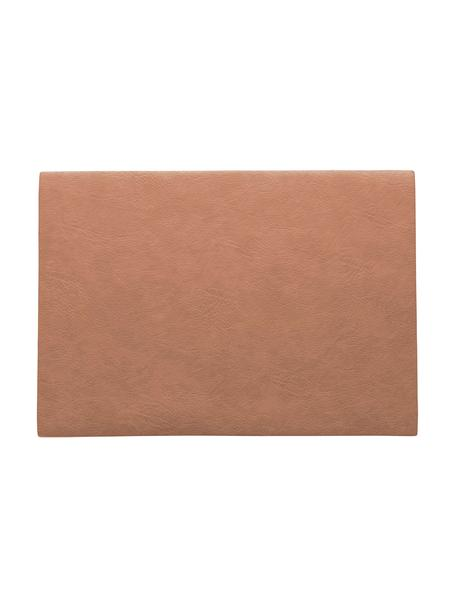 Manteles individuales de cuero sintético Plini, 2uds., Cuero sintético vegano, poliuretano, Rosa coral, An 33 x L 46 cm