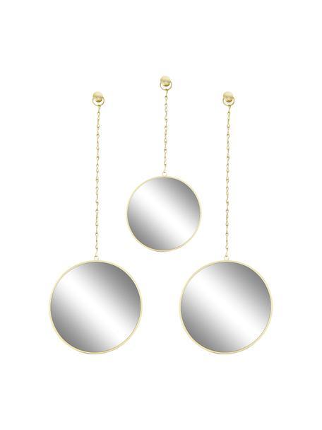 Set 3 specchi da parete con cornice in metallo dorato Dima, Cornice: metallo rivestito, Superficie dello specchio: lastra di vetro, Dorato, Set in varie misure