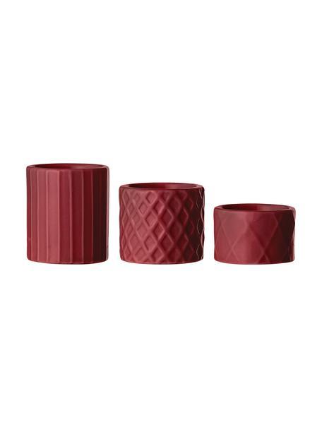 Komplet świeczników Elves, 3 elem., Porcelana, Czerwony, Komplet z różnymi rozmiarami