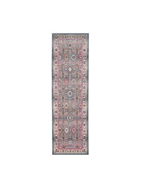 Loper Vintage Kashan met kleurrijk vintage patroon, Bovenzijde: 100% polypropyleen, Onderzijde: latex, Grijs, multicolour, 60 x 185 cm