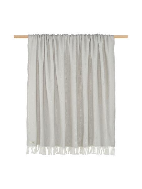 Plaid grigio con motivo fine Skyline, 50% cotone, 50% acrilico, Grigio chiaro, bianco spezzato, Larg. 140 x  Lung.180 cm