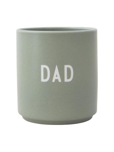Taza de diseño Favourite DAD/LOVE, Porcelana fina de hueso (porcelana) Fine Bone China es una pasta de porcelana fosfática que se caracteriza por su brillo radiante y translúcido., Gris verdoso, blanco, Ø 8 x Al 9 cm