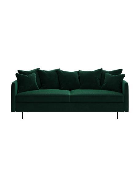 Sofa z aksamitu Esme (3-osobowa), Tapicerka: 100% aksamit poliestrowy, Stelaż: drewno liściaste, drewno , Nogi: metal powlekany Dzięki tk, Ciemny zielony, S 214 x G 96 cm