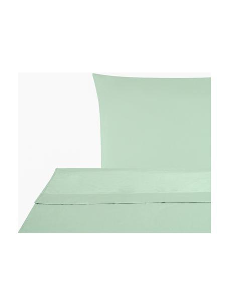 Set lenzuola in raso di cotone verde salvia Comfort, Verde salvia, 150 x 300 cm + 1 federa 50 x 80 cm