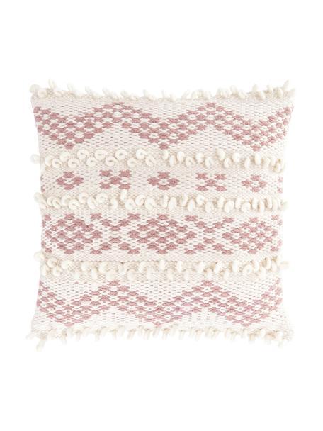 Boho Kissenhülle Paco mit dekorativer Verzierung, 80% Baumwolle, 20% Wolle, Ecru, Altrosa, 45 x 45 cm
