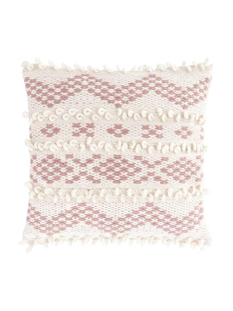 Funda de cojín Paco, estilo boho, 80%algodón, 20%lana, Blanco, rosa, An 45 x L 45 cm