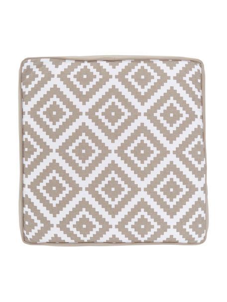 Cuscino sedia alto taupe/bianco Miami, Rivestimento: 100% cotone, Beige, Larg. 40 x Lung. 40 cm
