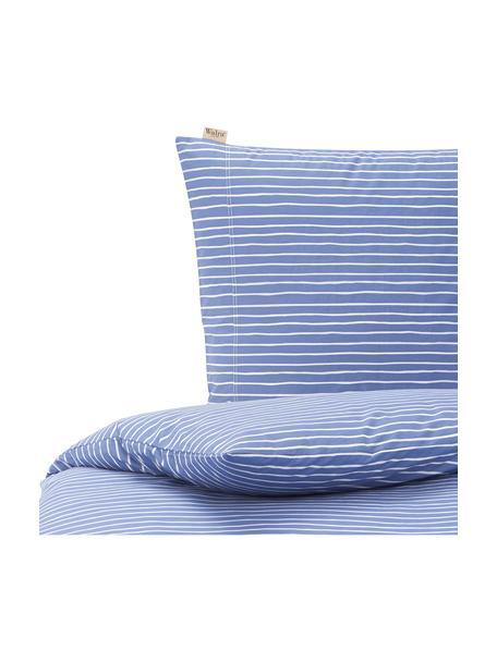 Baumwoll-Bettwäsche No way out mit Linien, Webart: Renforcé Renforcé besteht, Blau, Weiss, 135 x 200 cm + 1 Kissen 80 x 80 cm