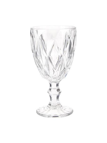 Copas de vino Colorado con patrón texturizado, 4 uds., Vidrio, Transparente, Ø 9 x Al 17 cm
