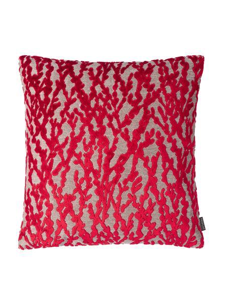 Poszewka na poduszkę Elio, 52% wiskoza, 41% poliester, 7% bawełna, Czerwony, beżowy, S 40 x D 40 cm