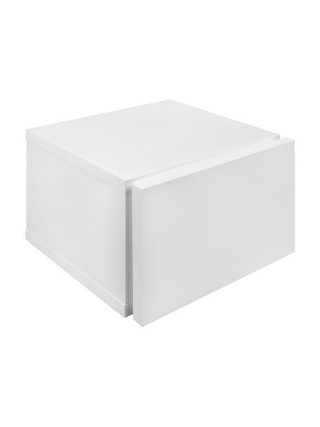 Nachtkastje Hank met lade, Met melamine gecoate spaanplaat in lichtgewicht honingraatstructuur, Mat wit, B 45  x D 43 cm