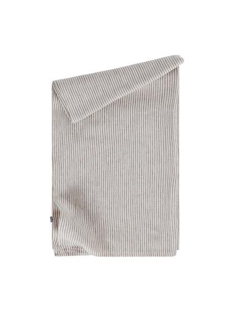 Tovaglia a righe in lino grigio/bianco panna Alina, 100% lino, certificato lino europeo, Grigio, bianco crema, Per 4-6 persone (Larg. 145 x Lung. 200 cm)