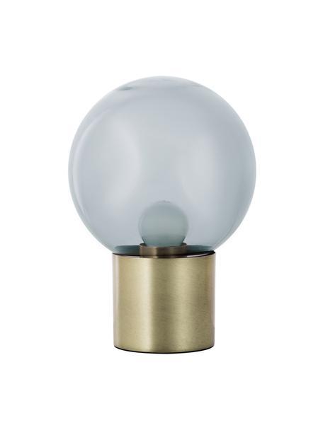 Kleine retro tafellamp Lark van glas, Lampenkap: glas, Lampvoet: geborsteld metaal, Lampenkap: grijs, transparant. Lampvoet: mat messingkleurig, Ø 17 x H 24 cm