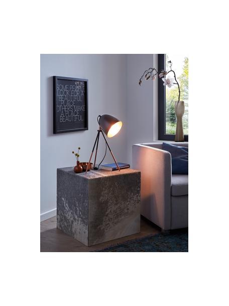 Lampada da tavolo industriale Luna, Paralume: acciaio verniciato a polv, Base della lampada: acciaio verniciato a polv, Base della lampada: nero, rame Paralume esterno: nero, Larg. 29 x Alt. 44 cm