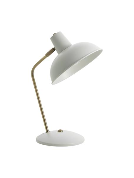 Lampa biurkowa w stylu retro Hood, Biały, odcienie mosiądzu, S 20 x W 38 cm