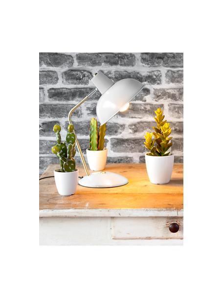 Retro tafellamp Hood, Lampenkap: gelakt metaal, Lampvoet: gelakt metaal, Wit, messingkleurig, 20 x 38 cm