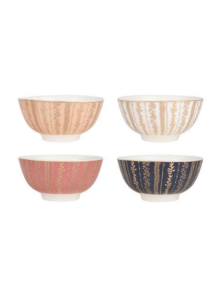 Schälchen Veg-Gold mit Golddetails, 4er-Set, Porzellan, Rosa, Blau, Weiß, Ø 11 x H 6 cm