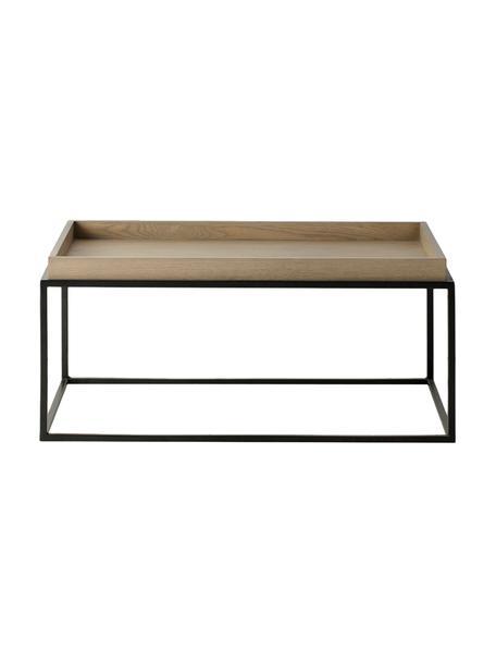 Tavolino rotondo da salotto in legno e metallo nero Forden, Struttura: metallo laccato, Marrone, Larg. 90 x Alt. 40 cm