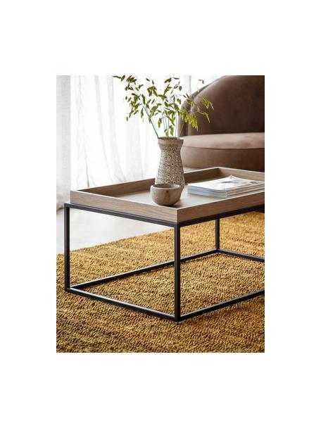 Mesa de centro de madera y metal Forden, Tablero: tablero de fibras de dens, Estructura: metal pintado, Marrón, An 90 x Al 40 cm