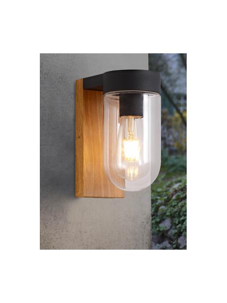 Outdoor wandlamp Cabar in houtoptiek, Lampenkap: glas, Bruin, zwart, transparant, 10 x 21 cm