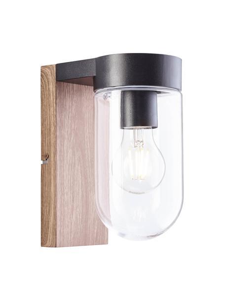 Applique da esterno in legno e vetro Cabar, Paralume: vetro, Struttura: metallo rivestito, Marrone, nero, trasparente, Larg. 10 x Alt. 21 cm