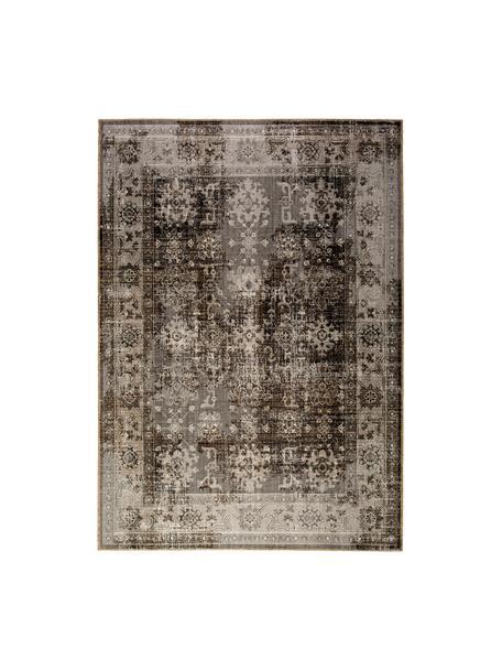 Dywan wewnętrzny/zewnętrzny w stylu vintage Tilas Antalya, 100% polipropylen, Odcienie szarego, czarny, S 80 x D 150 cm (Rozmiar XS)