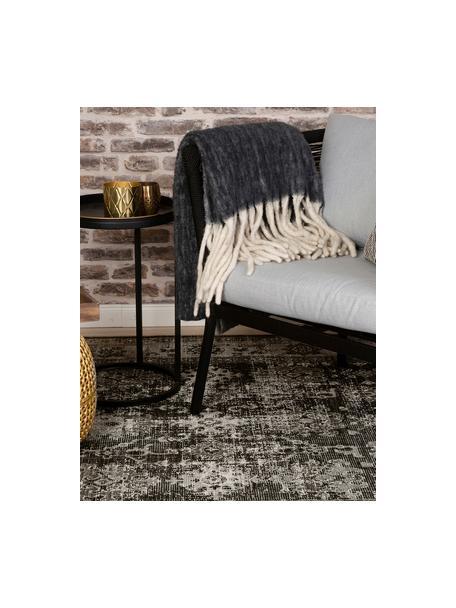 Tappeto vintage da interno-esterno Tilas Antalya, 100% polipropilene, Tonalità grigie, nero, Larg. 80 x Lung. 150 cm (taglia XS)
