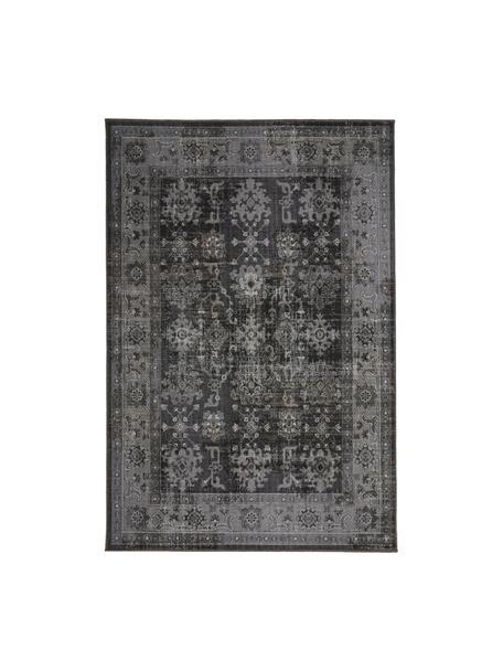 Alfombra de interior/exterior Tilas Antalya, estilo vintage, 100%polipropileno, Tonos grises, negro, An 80 x L 150 cm (Tamaño XS)