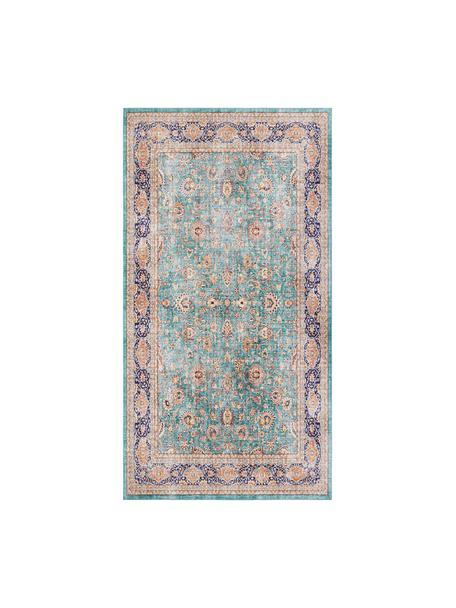 Loper Keshan Maschad in oosterse stijl, Jadegroen, multicolour, B 80 x L 150 cm (maat XS)