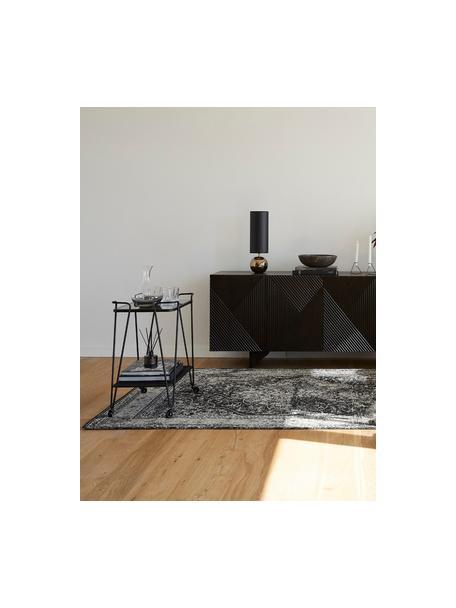 Vintage Teppich Rugged in Grautönen, 66% Viskose, 25% Baumwolle, 9% Polyester, Anthrazit, B 170 x L 240 cm (Größe M)