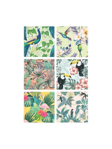 Onderzetter Tropics, 6 stuks, Bovenzijde: keramiek, Onderzijde: kurk, Multicolour, 10 x 0 cm