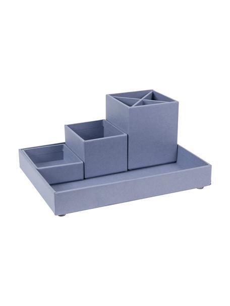 Bureau organizerset Lena, 4-delig, Massief, gelamineerd karton, Duifblauw, Set met verschillende formaten