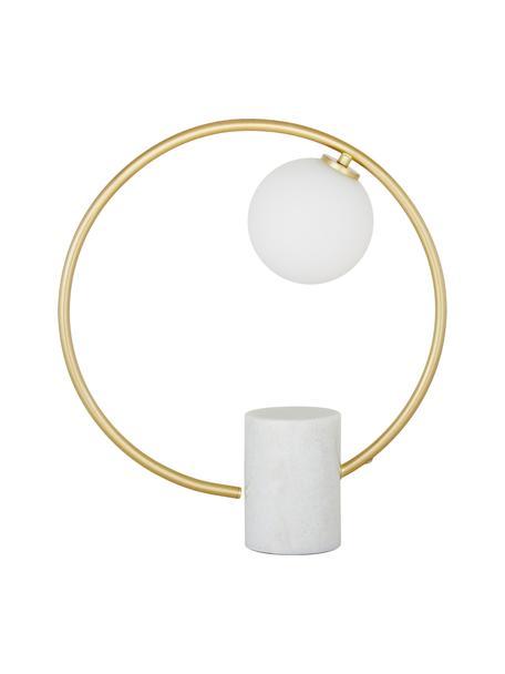 Glam-Tischlampe Soho mit Marmorfuß, Lampenschirm: Glas, Lampenfuß: Marmor, Weiß, Messing, 40 x 42 cm