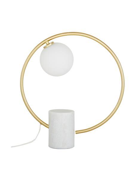 Glam-Tischlampe Soho mit Marmorfuss, Lampenschirm: Glas, Weiss, Messing, 40 x 42 cm