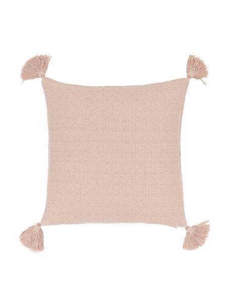 Federa arredo rosa con nappe decorative Lori, 100% cotone, Rosa, bianco crema, Larg. 40 x Lung. 40 cm
