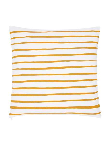 Gestreifte Kissenhülle Ola in Gelb/Weiß, 100% Baumwolle, Gelb-Orange, Weiß, 40 x 40 cm