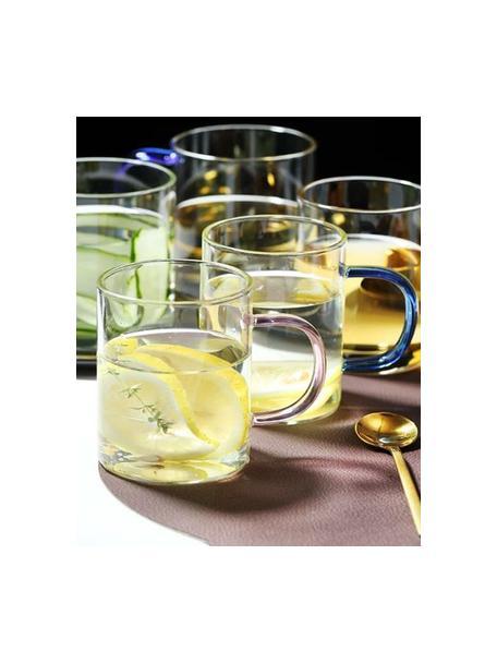 Glazen mokkenset Colored met gekleurde handvatten, 6-delig, Glas, Multicolour, Ø 8 x H 10 cm