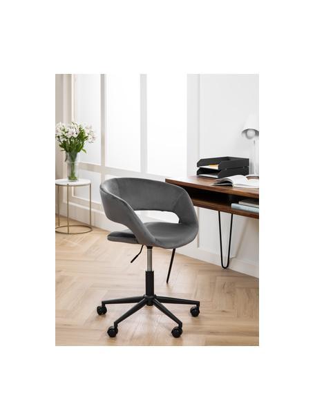 Krzesło obrotowe z aksamitu Grace, Tapicerka: poliester 25000 cykli w , Stelaż: metal malowany proszkowo, Aksamitny ciemny szary, S 56 x G 54 cm