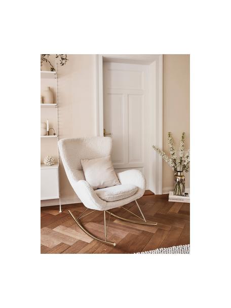 Sedia a dondolo in tessuto teddy Wing, Rivestimento: poliestere (tessuto teddy, Struttura: metallo zincato, Tessuto bianco crema, Larg. 66 x Prof. 102 cm