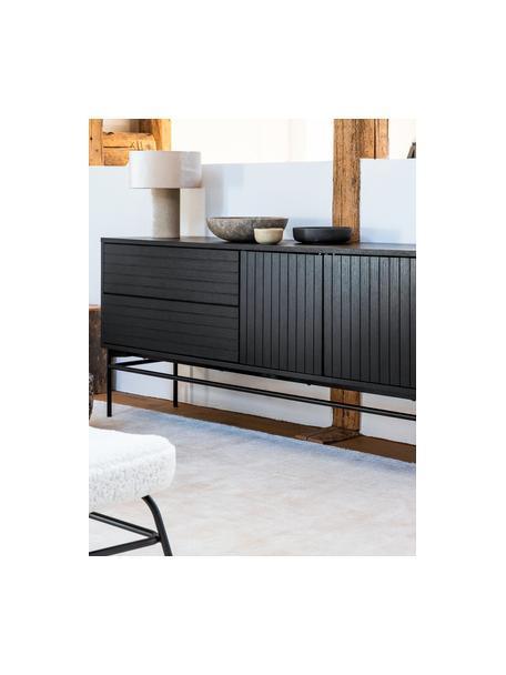 Modern dressoir Johan met deuren in zwart, Frame: MDF met eikenhoutfineer, , Poten: gepoedercoat metaal, Zwart, 160 x 75 cm