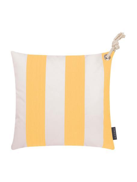 Federa arredo a righe color giallo/bianco da esterno Santorin, 100% polipropilene, Teflon® rivestito, Giallo, bianco, Larg. 40 x Lung. 40 cm