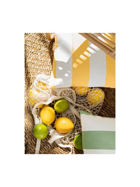 Gestreifte Outdoor-Kissenhülle Santorin in Weiss/Gelb, 100% Polypropylen, Teflon® beschichtet, Gelb, Weiss, 40 x 40 cm